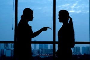 Silhouette of a mother arguing with her daughter.